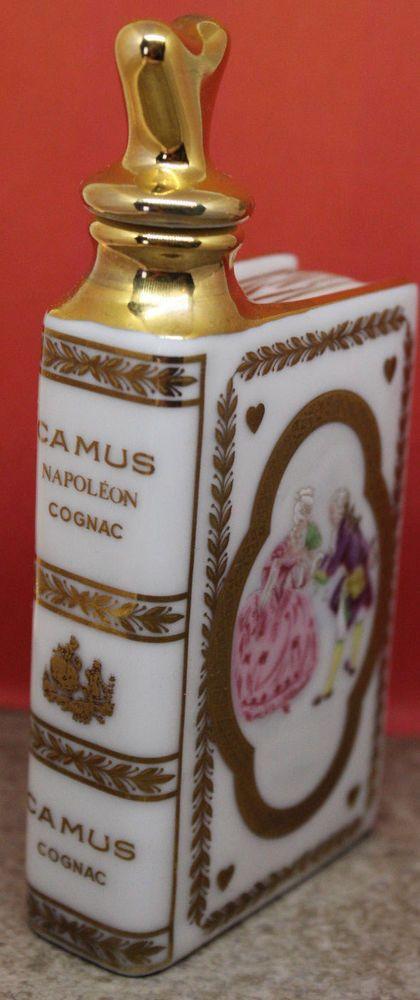 """Limoges Castel France Camus Cognac Napoleon 22K Gold Decanter 4.5"""" White Book"""