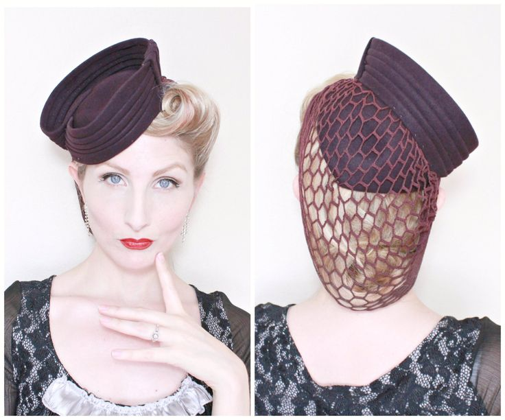 1940s Hat / VINTAGE / 40s / Tilt Hat / Attached Snood / Deep Plum / Sculpted / RARE by HighHatCouture on Etsy