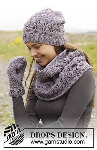*Free Crochet Pattern:  158-41 Tell Me Hat & Cowl by DROPS design