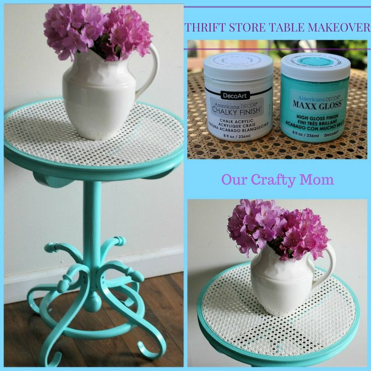 Thrift Store Cane Top Table Makeover In Gorgeous Aqua Our Crafty Mom
