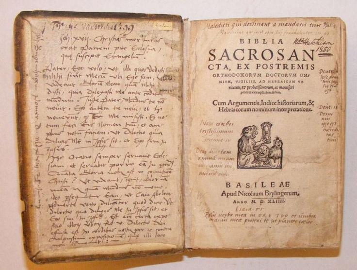 1544 Bible Owned & SIGNED By Johaan Bugenhagen Pastor to Martin Luther: Bible, Latin: Biblia Sacrosan CTA, Ex Postremis  http://www.abebooks.com/1544-Bible-Owned-SIGNED-Johaan-Bugenhagen/7462913275/bd