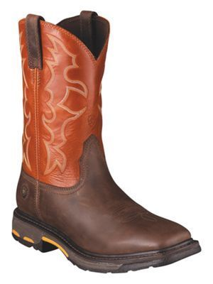 Ariat Workhog Wide Square Toe Pull On Work Boots for Men - Dark Earth/Brick - 10.5 W