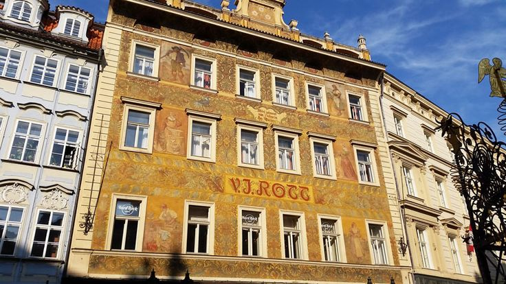 The V.J Rott Building in Little Square next to the Old Town Square. Beautiful decoration by Mikulas Ales in 1896.