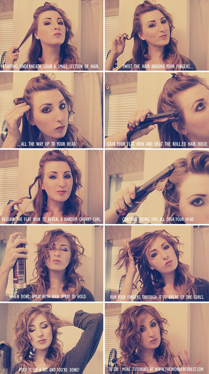 For shorter hair, twist the lock of hair up and heat the rolled hair with a flat iron.