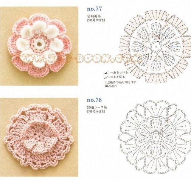 Mejores 67 imágenes de rosetas en Pinterest | Patrones de ganchillo ...