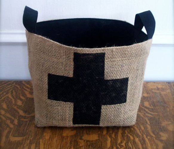 Coffee Sack Cross Basket.  My sister makes these out of burlap coffee sacks she gets from a coffee shop. I have one and love it!
