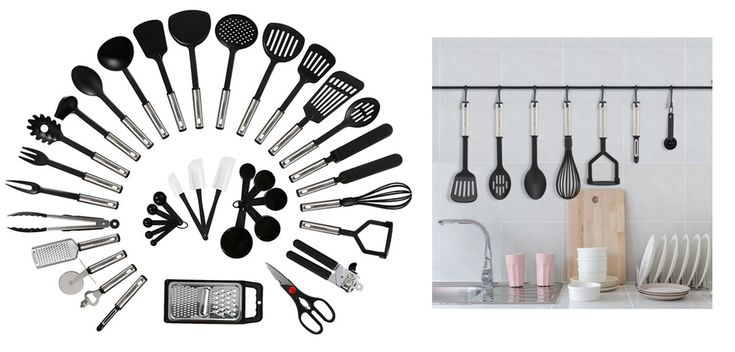 Kitchen Cooking Utensils Set 38 Pieces No Stick Stainless Steel Nylon Gadget Set #KitchenUtensilCookingSets