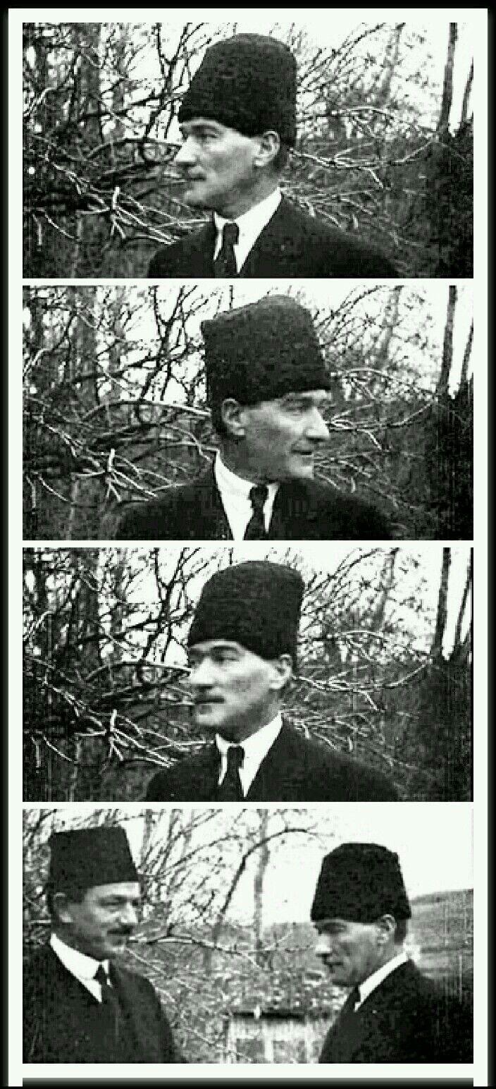 Mustafa KemalPaşa'mıgördüm, ÇankayaKöşkü'nün bahçesinde, ağaçlık bir köşede, keyifle gülümsüyordu. Yanında Rauf Bey... Hiç görmediğim bir görüntüsüydü.