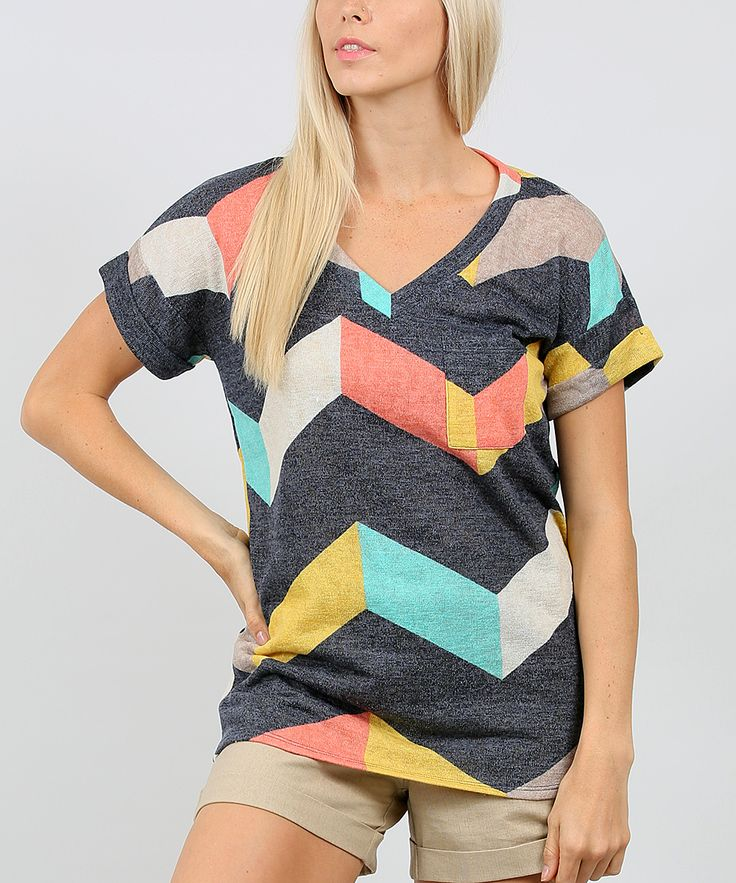 Charcoal & Coral Chevron Pocket V-Neck Tee - Plus