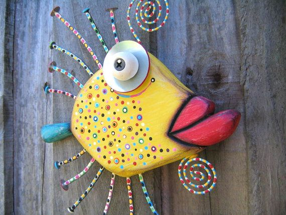 Goldfish with Lips, Original Found Object Sculpture, Wall Art, Wood Carving, Wall Decor, by Fig Jam Studio