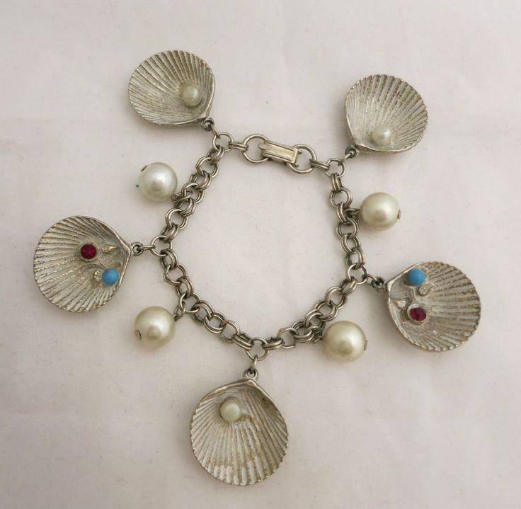 Vintage Seashells Charm Bracelet W/ Pearl Turquoise & Ruby Red Rhinestone #Charm