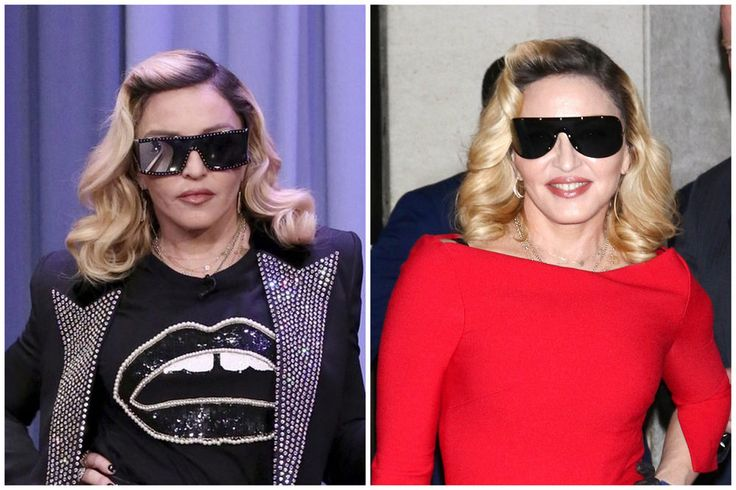 """New Trending Celebrity Looks: Style File: Madonna in Saint Laurent and Roland Mouret, Hawking Beauty Products.  Madge has herself a skincare line to sell (Which…what?) and that means she's got some image-management to do at the same time. She's toned down her style excesses considerably in order to go from """"badass lady pop star/attention-seeker"""" to """"sort of chic beauty..."""
