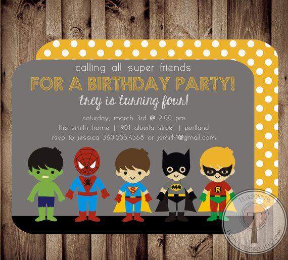 SUPERHERO Birthday Invitation (BIRTHDAY INVITATION), spiderman, batman, superman, hulk, super hero birthday invitation
