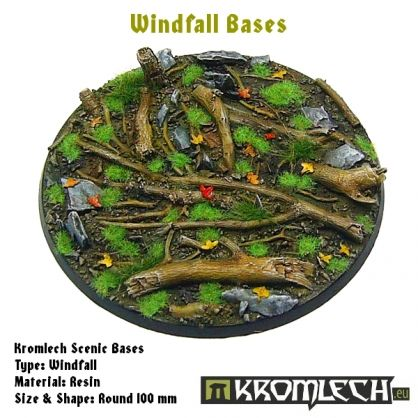 This set contains 1 round 100mm scenic base. Windfall theme.