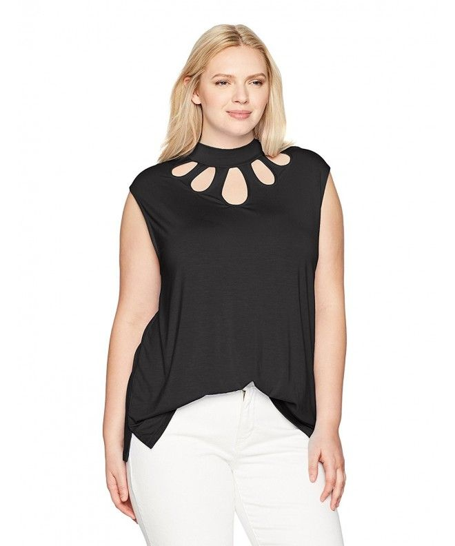 ccc5fd4b Women's Plus Size Mock Neck Top With Cutout Neckiline - Black - CY17Z5NRQA2,Women's  Clothing, Tops & Tees, Knits & Tees #Tops #Tees #Tshirts #Style #Knits & ...