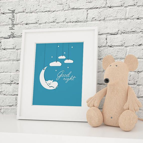 Nursery poster Cloud and Moon Goodnight...  Ordering this printable poster is easy...  -----------------------------------------------------------------------------------------------------------------------------  This listing is for the poster pictured above in PDF and JPG format in the following sizes: ✱ 18x24 inches  45x60 cm ✱ 12x18 inches  30x45 cm ✱ 8x10 inches  20x25 cm ISO (International Standard Size) ✱ A4 (21x29,7cm)…
