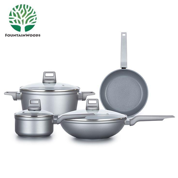 Non Toxic Non-stick Safest Silvery Aluminum Kinox Cookware