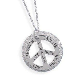 Peace Sign Rhodium Over Sterling Silver Talking Message Necklace - Strength, Love, Joy, Peace, Hope, Dream, Believe AzureBella Jewelry. $66.00. Cubic zirconia. Rhodium over .925 sterling silver