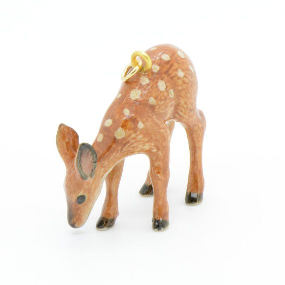 1 - Porcelain Deer Pendant Animal Hand Painted Glaze Ceramic Animal Ceramic Deer Fawn Vintage Jewelry Supplies Little Critterz Porcelain
