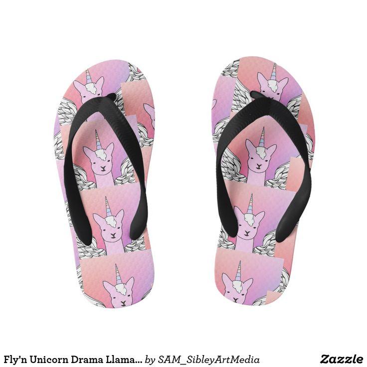 Fly'n Unicorn Drama Llama girls thongs flip flops