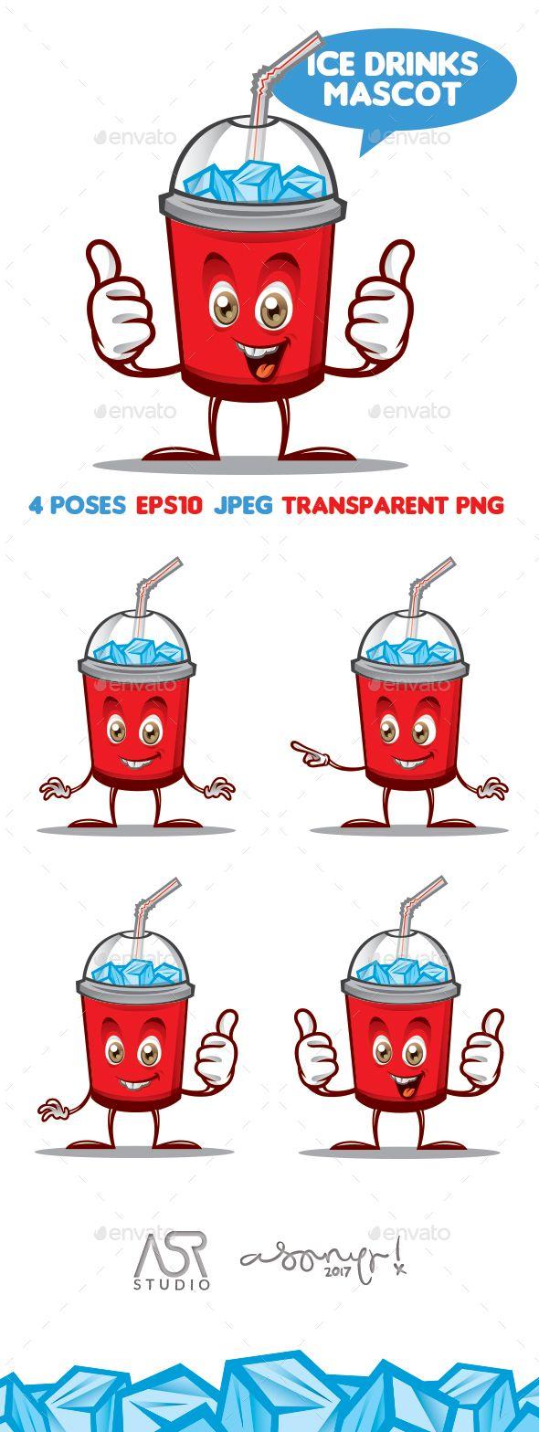 Ice Drink Mascot Iced drinks, Drinks logo