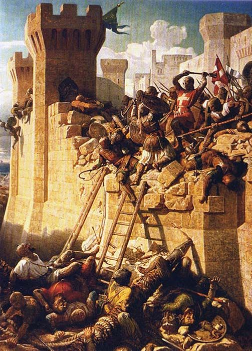 The Siege of Acre. The Hospitalier Master Mathieu de Clermont defending the walls in 1291.
