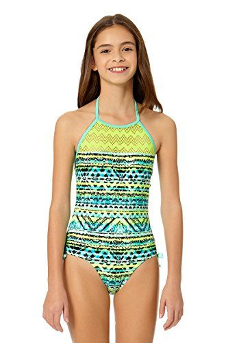 daa4109d8664f Angel Beach Girl's Aztec Zig Zag High Neck One Piece Swimsuit 7-16 ...