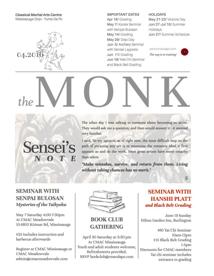 Read the April edition of the Monk at www.cmacdapo.com/newsletters/newsletter-2016-04.pdf