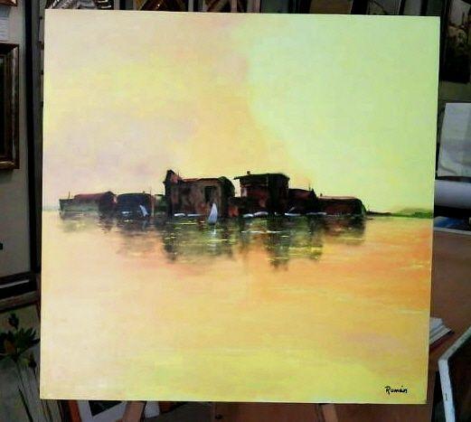 Óleo sobre lienzo de firma Román: 60x60 cm. doble bastidor, abstracto
