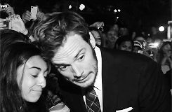 Sam Claflin with fans on 'The Riot Club' World Premiere red carpet