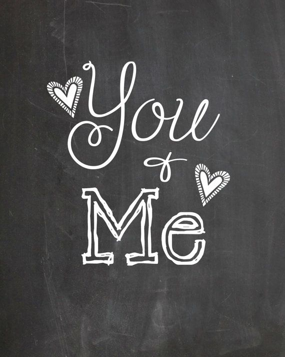 Printable Chalkboard Art You & Me Instant by Pinkowlpartydesign