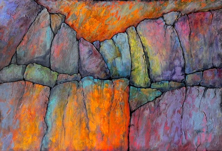 """Mixed Media Artists International: Geologic Abstract Painting, """"Ancient Mysteries 2"""" © Carol Nelson Fine Art"""