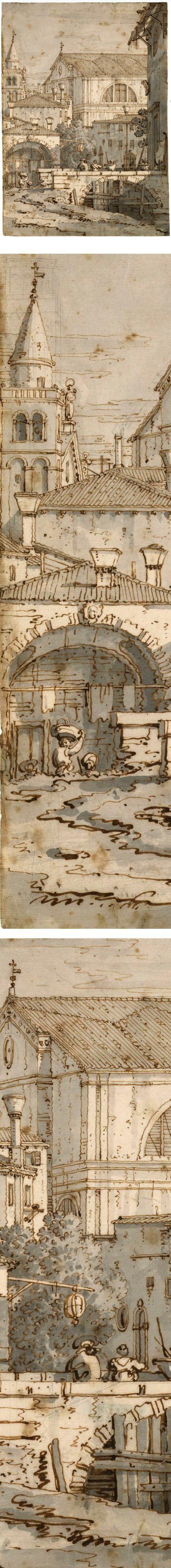Architectural Capriccio, Canaletto (Giovanni Antonio Canal), Pen and brown ink, with gray wash, over graphite and traces of black chalk, 11 1/4 x 8 1/16 inches (286 x 204 mm) - Picmia