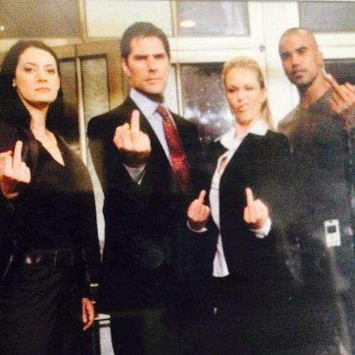 Criminal Minds Cast giving someone the Finger
