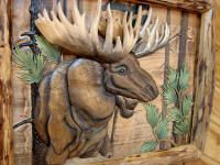 Intarsia Wood Art Bull Moose Head Log Framed Wall Decor