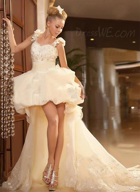$201.59 Dresswe.comサプライ品近代的な夜会服の非対称性がジッパーアップ裁判所の列車アップリケ/花のウェディングドレスストラップ