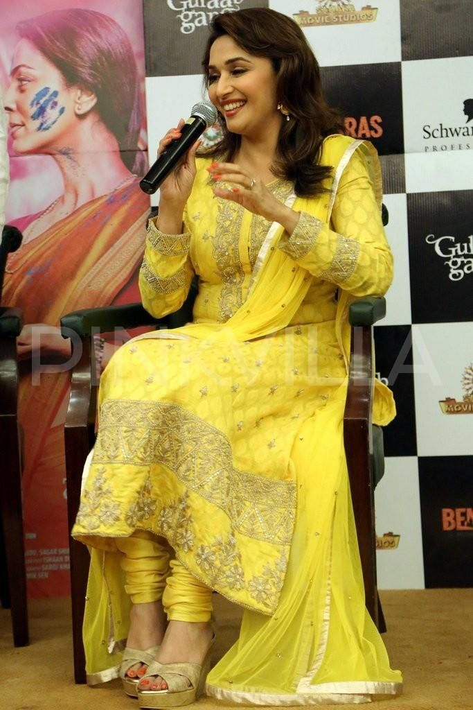 Madhuri promotes Gulaab Gang in Delhi.