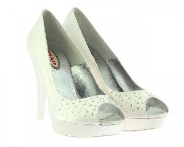 Lo stile di Melluso scarpe estate 2014: il comfort di tendenza Melluso decolletè spuntato in raso bianco con swaroski