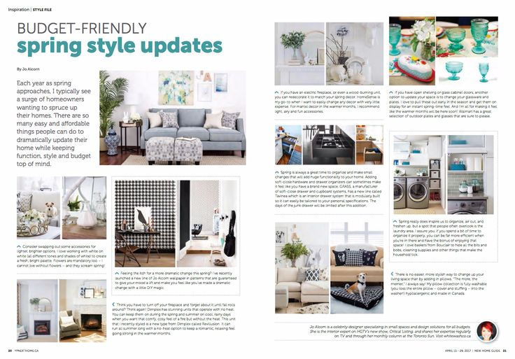 Check out the most recent GTA New Home Guide for Spring Style Updates from Jo Alcorn | Dimplex fireplaces operate without heat for year round use to add a comfy, cozy feel during rainy and cool spring/summer days