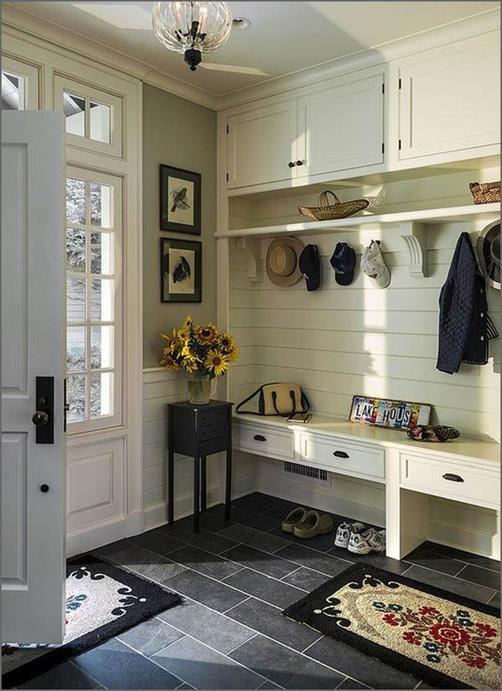 "magicalhome: "" Beautiful built-in to keep coats, boots, etc., when you don't have a mud room. furniture.com """