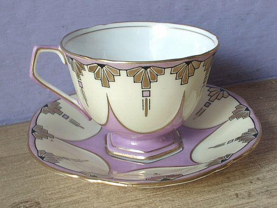 RARE antique art deco tea cup set, 1930's