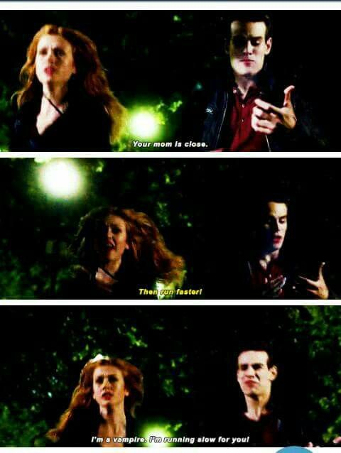 """I'm a vampire. I'm running slow for you."" Simon and Clary - Shadowhunters 2x01 ""The Guilty Blood"""
