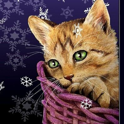 Single Holiday Kitten Cat Greeting Card Art by by MelodyLeaLamb, $5.00