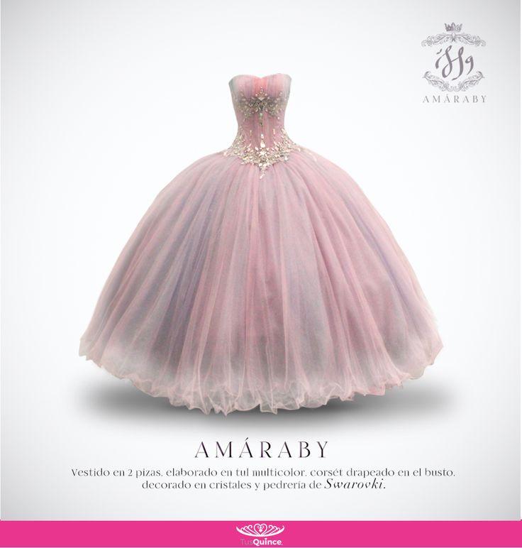 #Amaraby #VestidoDeQuince #TusQuince #Bonito #Hermoso #QuinceAños #Diseños #Vestido #Dress #Tul #Drapeado #Cristales #Corset #Multicolor #Cristales #Pedreria #Swarovski