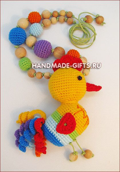 """Necklace with a rattle toy """"Chicken"""""""
