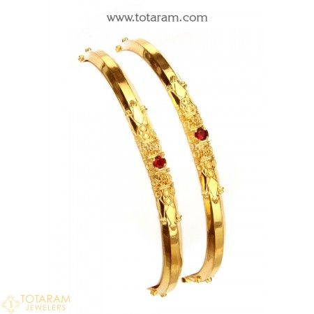 22K Gold Bangles - Set of 2 (1 Pair)  - 235-GBL1226 - Buy this Latest Indian Gold Jewelry Design in 20.000 Grams for a low price of  $1,125.00