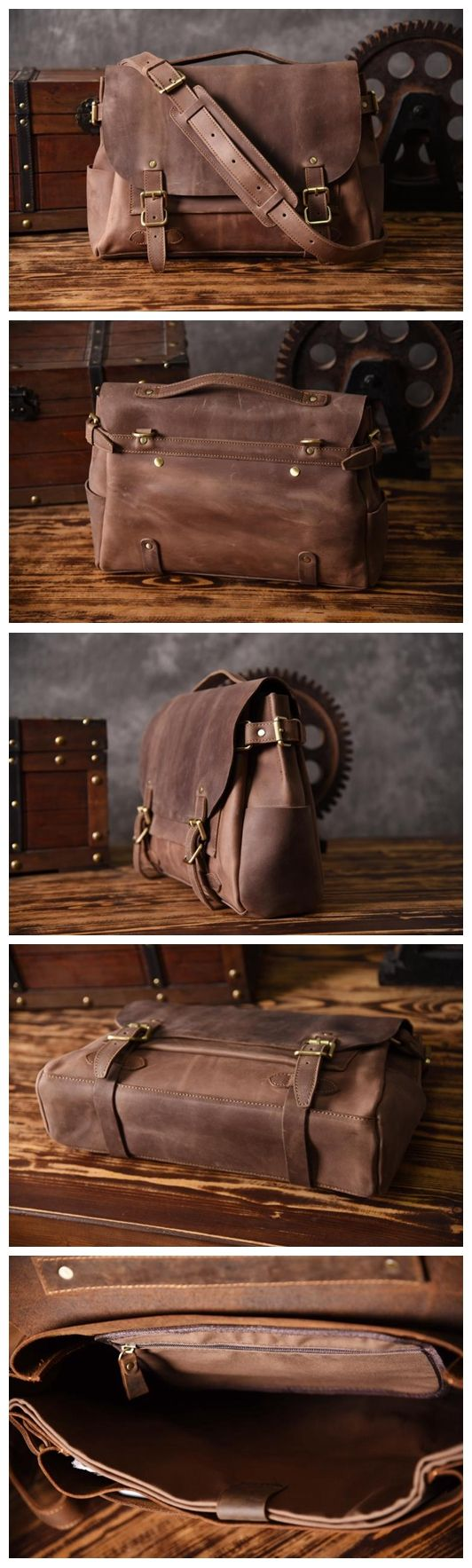 Handmade Light Brown Leather Messenger Bag Men's Handbag Laptop Bag Travel Bag MT601