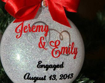Personalized Glittered Christmas Tree Ornament - Engagement, Wedding, 1st Christmas, Anniversary