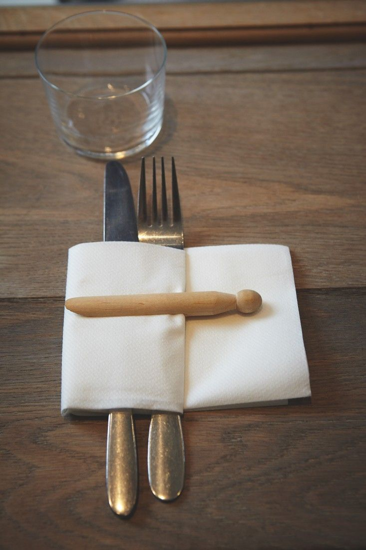 Honey & Co, London Restaurant, Clothespin napkin detail, Photo by Patricia Niven | Remodelista