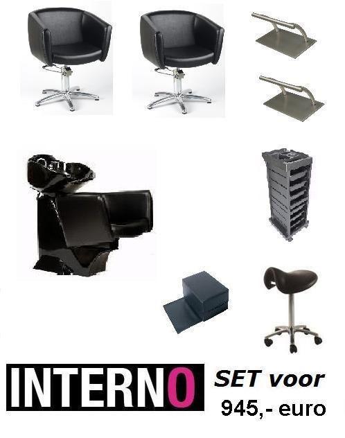 Startersset Interno Plus!Complete set voor kapsalons. #Wasunit Kappersstoel #Werkwagen # Kronos #Kinderkussen #Zadelkruk